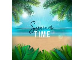 带有棕榈叶和海洋景观的矢量夏季时间插图_4951455