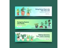 夏季植物横幅模板设计小册子传单广告和_8908185