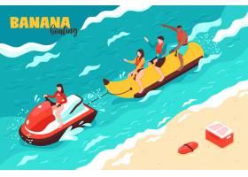 夏季水上运动与一群度假的人一起骑香蕉船_7285769