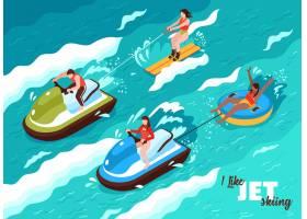 夏季水上运动在海浪上的等距海报人们参与_7285771