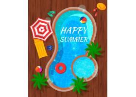 夏季游泳池配有海滩配件和棕榈树木质顶_6802336