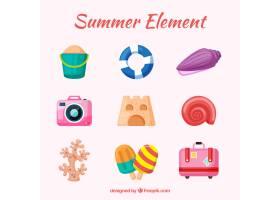夏日元素系列平坦风格的衣服和食物_2165119