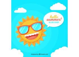 夏日背景滑稽的阳光平坦的风格_2190147