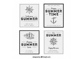 复古风格的带有航海元素的夏日卡片_1109262