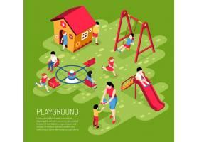 夏天教育工作者和孩子们在幼儿园的操场上_6840008