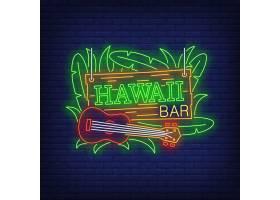 夏威夷酒吧带有四弦琴和树叶的霓虹灯文本_4550708