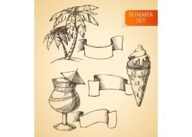 夏季一套棕榈冰激凌和鸡尾酒的素描用丝带_1158597