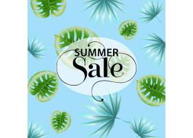夏季促销蓝色热带树叶图案宣传海报_2766950