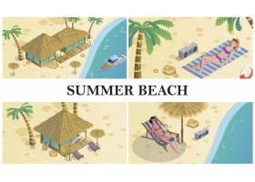 夏季女性在海滩平房酒店记录器棕榈树_9456172