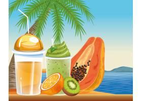 卡通风格的暑假和海滩_4795795