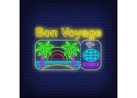 印有海滩和机票标志的霓虹灯祝您一路顺风_4550652