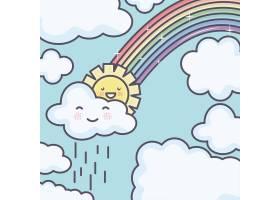可爱的夏日阳光和云彩雨中有彩虹卡哇伊人_5010657