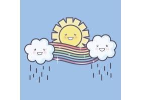 可爱的夏日阳光和云彩雨中有彩虹卡哇伊人_5010660