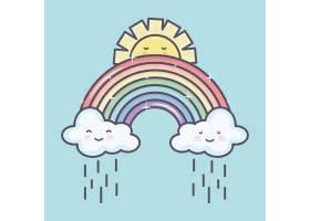 可爱的夏日阳光和云彩雨中有彩虹卡哇伊人_5010669