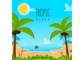 可爱的热带海滩设计平坦_2712536