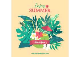 可爱的热带海滩设计平坦_2712540