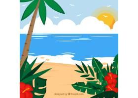 可爱的热带海滩设计平坦_2712546