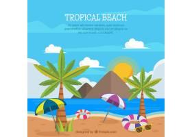 可爱的热带海滩设计平坦_2712547