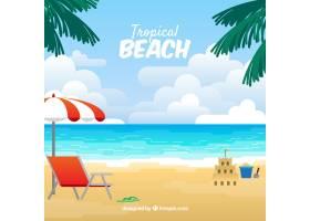 可爱的热带海滩设计平坦_2712552