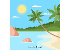 可爱的热带海滩设计平坦_2712556