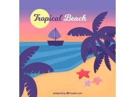 可爱的热带海滩设计平坦_2712563