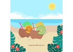 可爱的热带海滩设计平坦_2712566