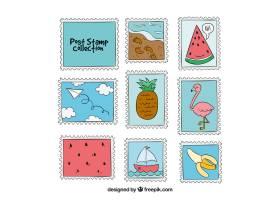 各式各样的手绘邮票_1121661