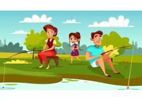 周末假期的父母父亲和女儿的家庭钓鱼插图_2703447