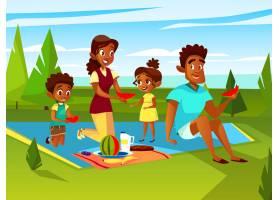 周末卡通非洲家庭在户外野餐聚会上_2890911
