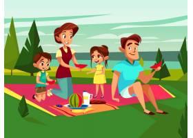周末在户外野餐聚会上的卡通高加索家庭_3090652