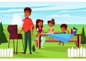 周末户外烧烤野餐聚会上的非洲卡通家庭_2890910
