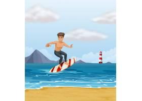 在海滩上冲浪的男孩_5284607