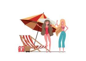 在海滩上穿着泳衣打着伞的女人_4740994