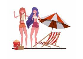 在海滩上穿着泳衣打着伞的女人_4740995