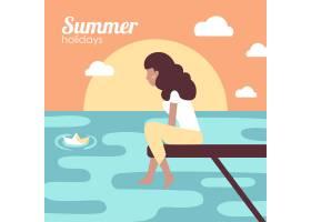 在海里度暑假的女孩_4855067