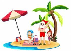 圣诞老人在海滩岛上过夏天的圣诞节_12321550