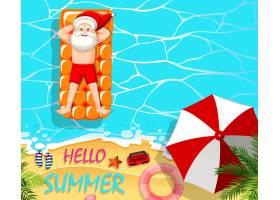 圣诞老人在游泳池里放松夏日主题_12321575