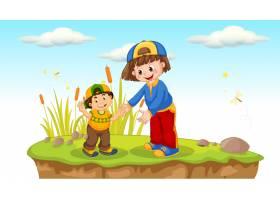 在大自然中玩耍的儿童_4607705