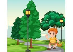 公园里提着篮子的男孩_4564823