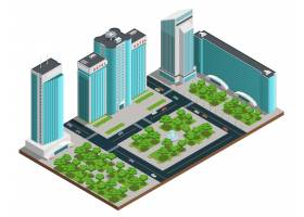 具有多层建筑和绿色公园的现代城市景观等距_3796724