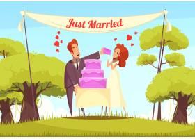 刚刚结婚的卡通插图_6477849