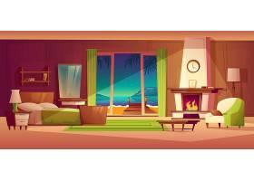 别墅内部夜景窗户带海边来自壁炉的光线_2669598