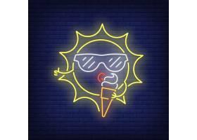 卡通太阳吃冰激凌霓虹灯招牌砖墙上戴墨镜_4997539