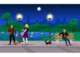 五彩缤纷的晚间避暑公园模板_9585771