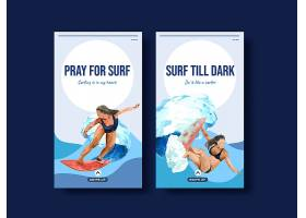 Instagram模板带海滩冲浪板用于夏季度_10016167