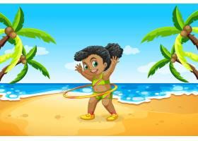 一个女孩在海滩上玩呼啦圈_4180740
