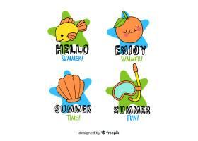 五颜六色的手绘夏季徽章系列_4623222