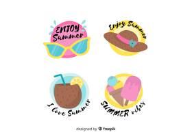 五颜六色的手绘夏季徽章系列_4676726