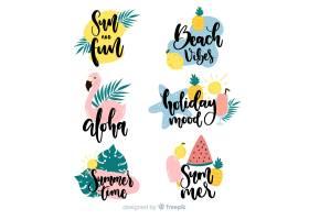 五颜六色的手绘夏季标签系列_4807279