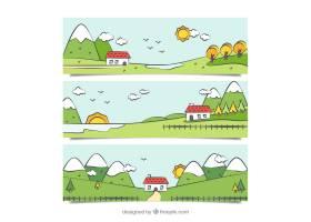 一包带房子的手绘风景画横幅_911354